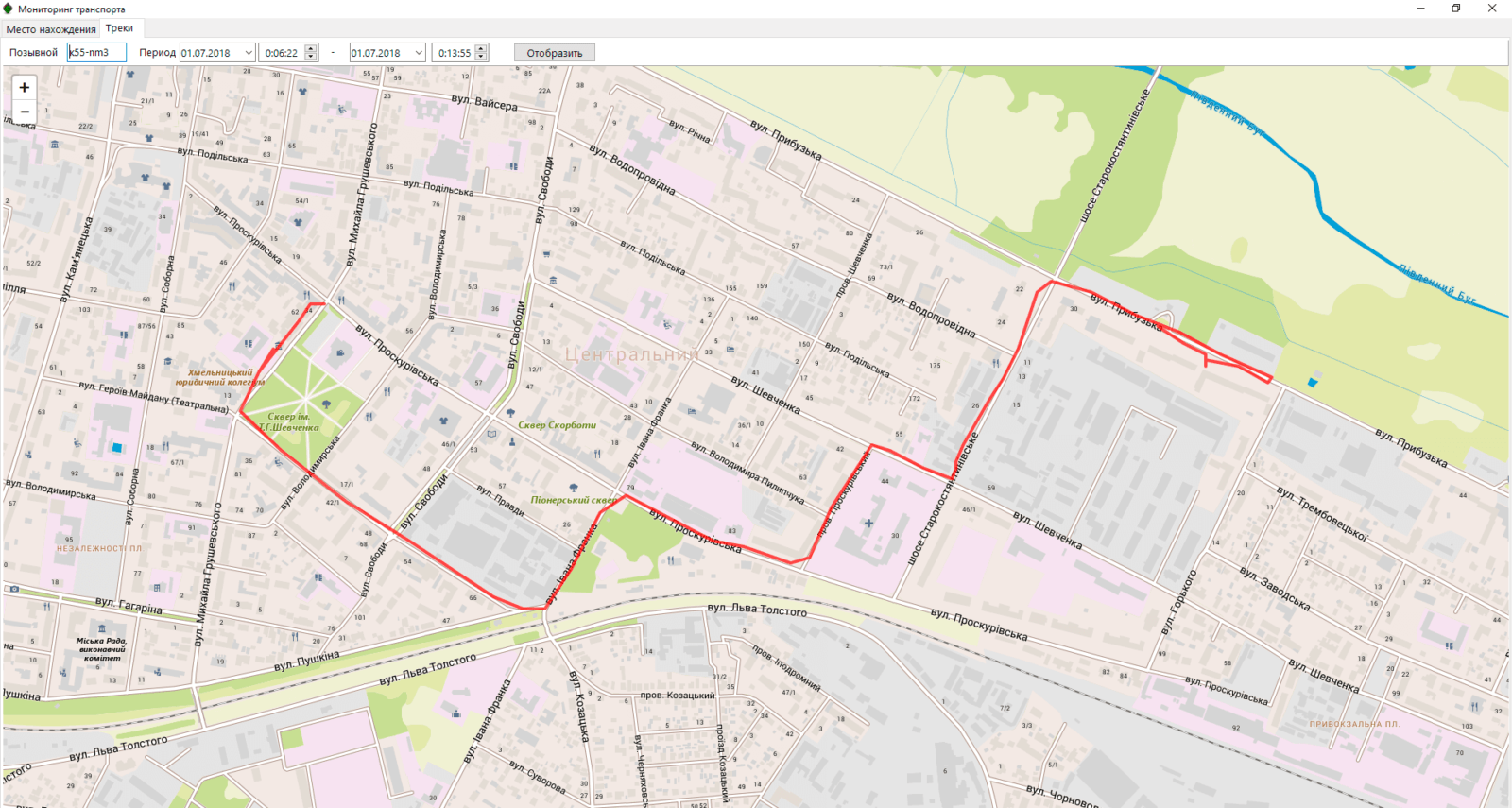 GPS трек поездки такси